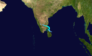 Cyclone Nisha (2008) - Image: Nisha 2008 track