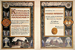 "A heavily decorated paper with the name ""Fritz Haber"" on it."