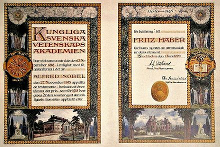 Laureates receive a heavily decorated diploma together with a gold medal and the prize money. Here Fritz Haber's diploma is shown, which he received for the development of a method to synthesise ammonia. Nobel Prize Diploma Fritz Haber 1918.JPG