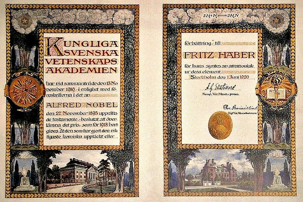 Nobel Prize Diploma Fritz Haber 1918