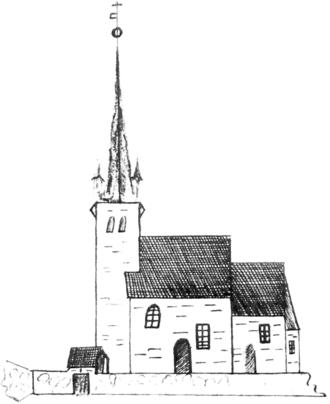 Jonas Danilssønn Ramus - Norderhov kirke, sketch by  L. D. Klüwer (1823)