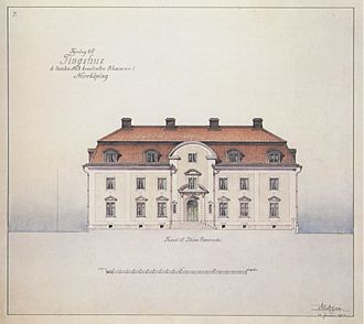 Isak Gustaf Clason - Original sketch to the courthouse in Norrköping