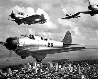 Northrop BT - Northrop BT-1s over Miami in October 1939