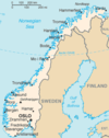 Map of the mainland of Norway