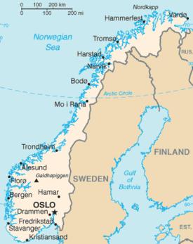 Mapa de Noruega.