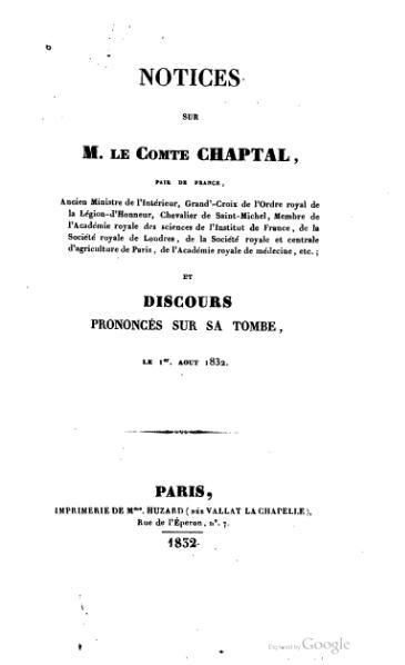 File:Notices sur M. le comte Chaptal, et discours prononcés sur sa tombe, le 1er août 1832.djvu
