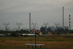 Nowe Czarnowo with Dolna Odra Power Station in background