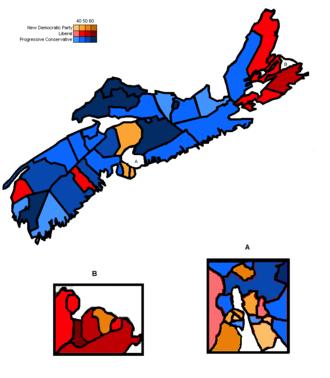 Nova Scotia general election, 1999 - Image: Ns Electoral Map 1999
