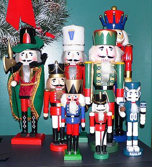 The Nutcracker and the Mouse King - A variety of traditional nutcracker figures