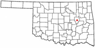 Okmulgee, Oklahoma - Image: OK Map doton Okmulgee