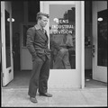 Oakland, California. Lockheed Testing Program. Standing outside the Oakland office of the State Department of... - NARA - 532192.tif