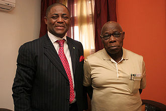 Femi Fani-Kayode -  Chief Femi Fani-Kayode (left) with President Olusegun Obasanjo at a private lunch to honour Chief Fani-Kayode's 50th birthday on 18 October 2010.