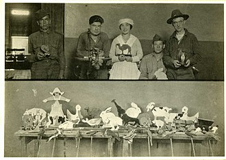 Occupational therapy - Occupational therapy. Toy making in psychiatric hospital. World War 1 era.