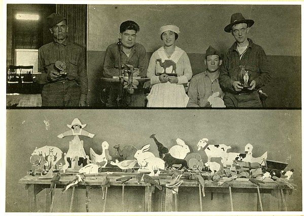 Occupational therapy. Toy making in a psychiatric hospital. World War 1 era