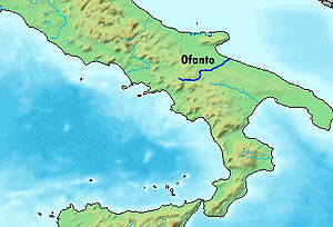 Battle of Montemaggiore - Map showing the Ofanto river in southern Italy
