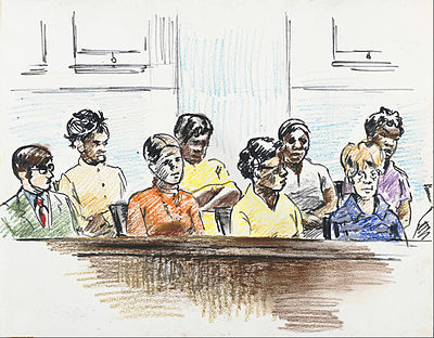 Oil Pastels and ink drawing of jurors consisting of six African American women, one white woman and one white man. 20.jpg