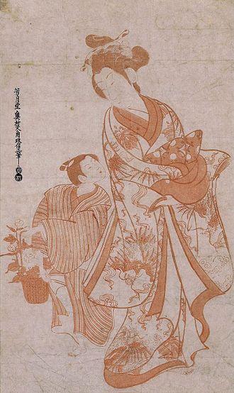 Aka-e - Image: Okumura Masanobu (aka e, Dai oban tate e 22 x 13.5 in) Courtesan and Boy Flower Seller, c. 1730s