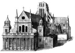 Een afbeelding van de westelijke voorkant van de kathedraal, met een ietwat ongerijmde veranda in klassieke stijl die aan de kathedraal is toegevoegd, met acht hoge zuilen, die een beetje op het Parthenon lijken.