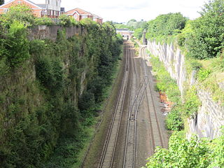 Olive Mount cutting Railway cutting on the Liverpool-Manchester line in England