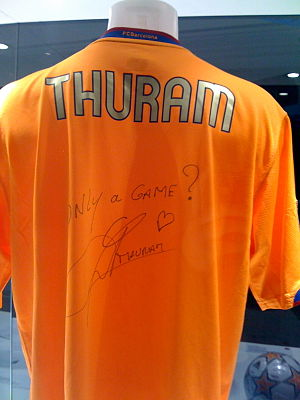 Lilian Thuram - Thuram's signed Barça shirt, on display at the World Museum in Liverpool, 2008