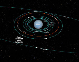S/2004 N 1 - Diagram of the orbits of Neptune's moons out to Triton, with S/2004 N 1's orbit highlighted.
