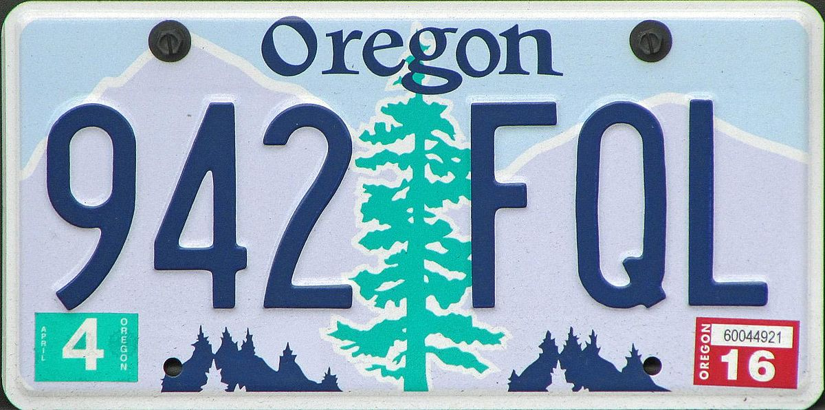 ae7e260068b Vehicle registration plates of Oregon - Wikipedia