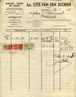 Invoice from Otte Joseph to Blommaert Jozef in...