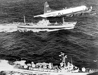 "USS Barry (DD-933) - Barry, U.S. Navy plane and Soviet ship ""Metallurg Anosov"" in November 1962."