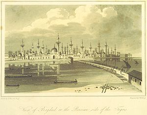 Al-Ash`ari - A depiction of Baghdad from 1808, taken from the print collection in Travels in Asia and Africa, etc. (ed. J. P. Berjew, British Library); al-Ashʿarī spent his entire life in this city in the twelfth-century