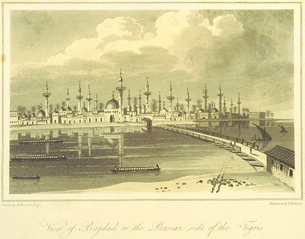 A view of Baghdad from the print collection in Travels in Asia and Africa, etc. (ed. J. P. Berjew, British Library) PARSONS(1808) p008 View of Bagdad on the Persian side of the Tigris.jpg