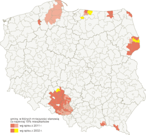 Demographics of Poland - Map of at least 10% non-Polish areas