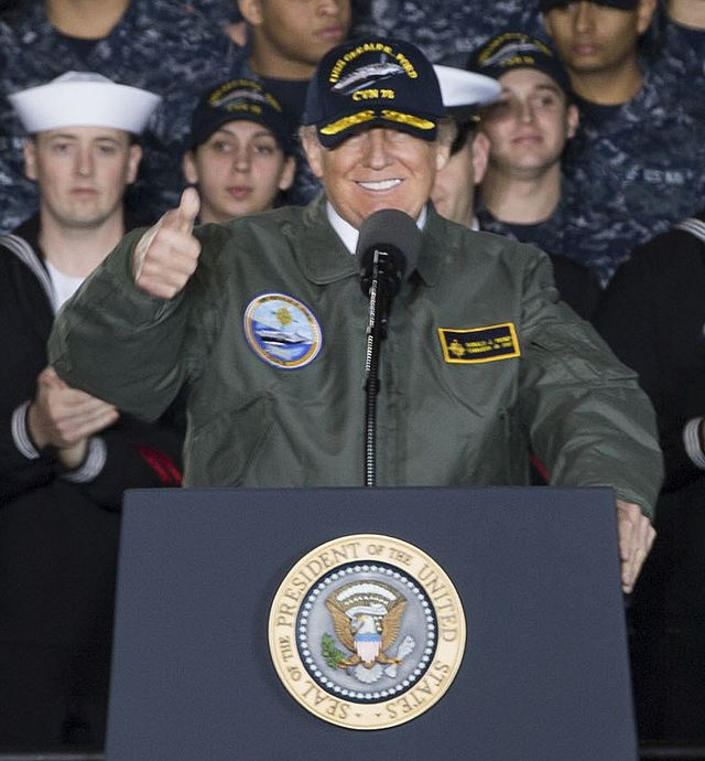 From commons.wikimedia.org: Donald Trump aboard the USS Gerald R. Ford {MID-281178}