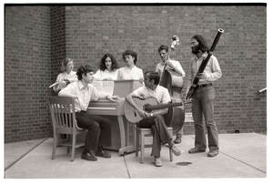 Herbert Brün - The Performers Workshop Ensemble. Left to right: Lesley Olson, Sam Magrill, Pam Richman, Susan Parenti, Arun Chandra, Mark Sullivan, Mark Enslin