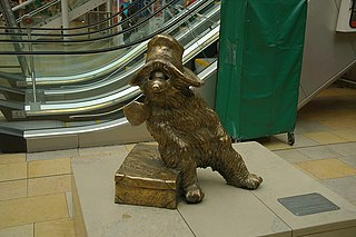 statue in Paddington station, London