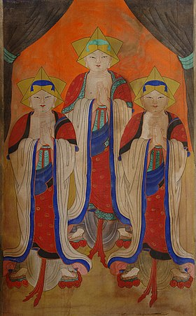 Painting of 3 Asian people facing front, orange background.