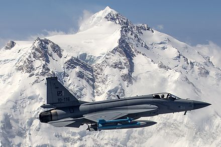 Pakistan Air Force's JF-17 Thunder flying in front of the 26,660-foot-high (8,130-metre) Nanga Parbat. Pakistan Air Force JF-17 Thunder flies in front of the 26,660 ft high Nanga Parbat.jpg