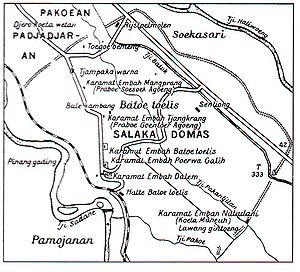 Old Dutch map showing the location of Pakuan, ...