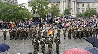 Franco-German Brigade - The Franco-German Brigade parade in Reims in honor of the 50th anniversary of Franco-German friendship.
