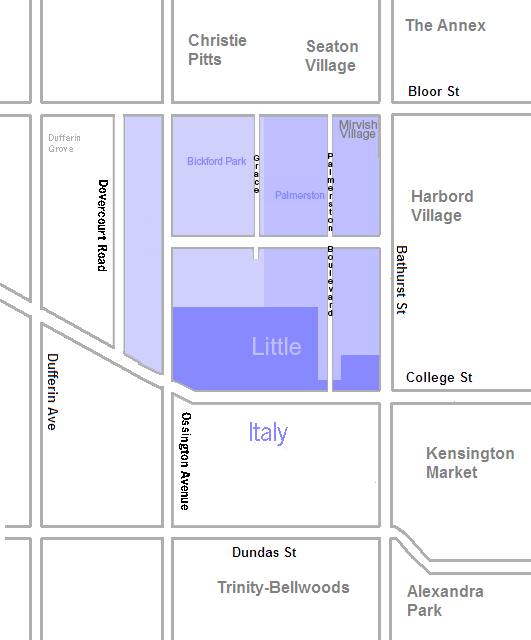 The areas of Palmerston-Little Italy. Boundaries are approximate.