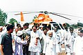 Pandit Ram Kishore Shukla leading to a public meeting with then chief minister Digvijaya Singh in 1997.jpg