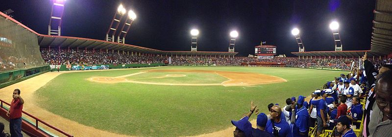 Panoramic View of Victoria de Giron Stadium, from the 1st-base line seats, Jan 2013