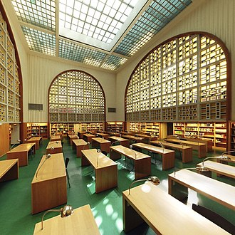 National and University Library - Former main reading room of the library, built in 1950, destroyed in 2012 (architect: François Herrenschmidt)
