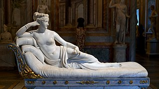 <i>Venus Victrix</i> (Canova) neo-Classical portrait sculpture of Pauline Bonaparte by Antonio Canova