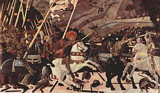 Very large panel painting of a battle scene with a man in a large ornate hat on a rearing white horse, leading troups toward the foe. Bodies and weapons lie on the ground. The background has distant hills and small figures.
