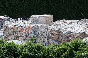 Paper recycling - Waste paper collected for recycling in Italy.