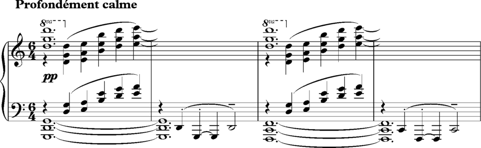 Parallel fourths evoking organum in Debussy%27s %22The Sunken Cathedral%22 opening 02