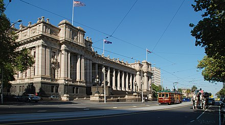 Victorian Parliament House, where the Federal Parliament met until 1927 Parliament House Melbourne 2010.jpg