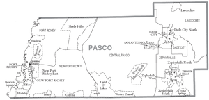 Pasco County, Florida - County map from http://www.census.gov