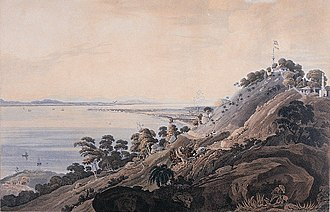 Tanjung Tokong - An 1818 painting depicting the coastline of what is now Tanjung Tokong. Mount Erskine is also visible to the right.