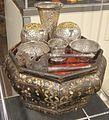 Peranakan tempat sireh, wood, mother of pearl, silver and gold plating.JPG